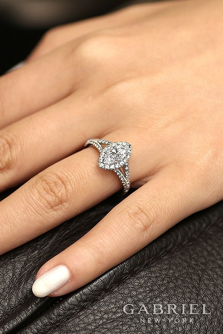 18k White Gold Marquise Cut Halo Engagement Ring