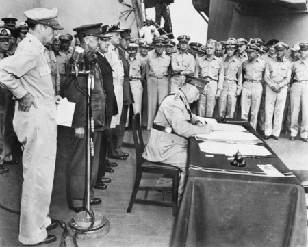 September 2nd, 1945. Aboard the USS Missouri, Australian General Thomas Blamey signs the Japanese Instrument of Surrender on behalf of the Commonwealth of Australia. This document saw the surrendering of Japan and the end of the Second World War. https://cas.awm.gov.au/photograph/040969