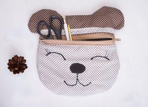 Pencil pouch bear Cosmetic bag bear Makeup case Bear cosmetic bag Cosmetic purse Cosmetic case Pencil case Pencil bag Makeup pouch