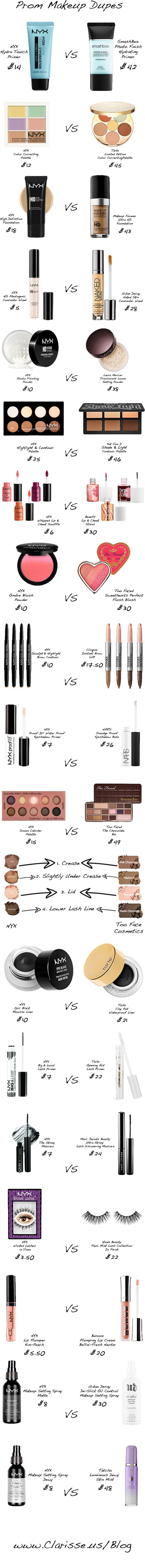 Do you love all those looks the beauty vlogger gurus show you how to do on youtube? Get those same great products but at half the price!! Click to read more about these amazing drugstore makeup dupes to create an AMAZING prom makeup look that will look great with any dress!! clarisse.us/blog