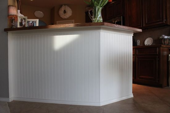 how to add beadboard to kitchen island! she did this for $20.  Are you kidding me!  we are so doing this