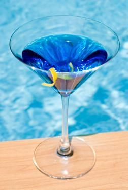blue martini | – 1 1/2 ounces Blue Curacao  – 1 1/2 ounces Jose Cuervo Gold  – 3/4 ounce fresh lime juice    Shake with ice and serve in a classic martini glass.