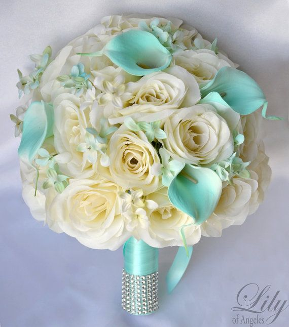 """17 Piece Package Wedding Bridal Bride Maid Of Honor Bridesmaid Bouquet Boutonniere Corsage Silk Flower TIFFANY BLUE IVORY """"Lily of Angeles"""""""