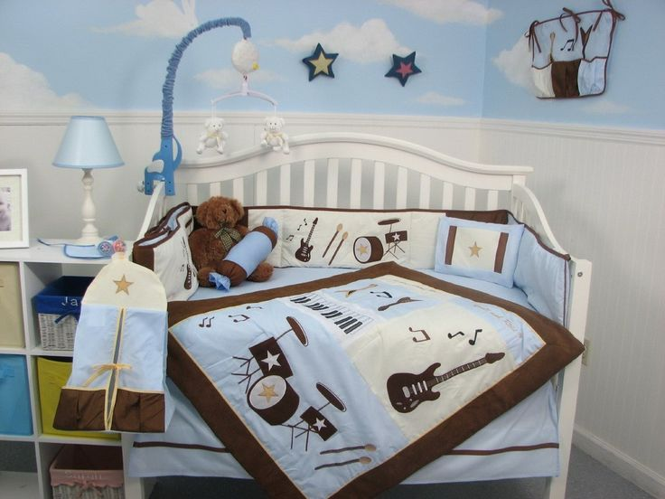 Soho Blue And Brown Rock Band Baby Crib Nursery Bedding Set 13 Pcs Included Diaper Bag With Changing Pad Bottle Case Gift