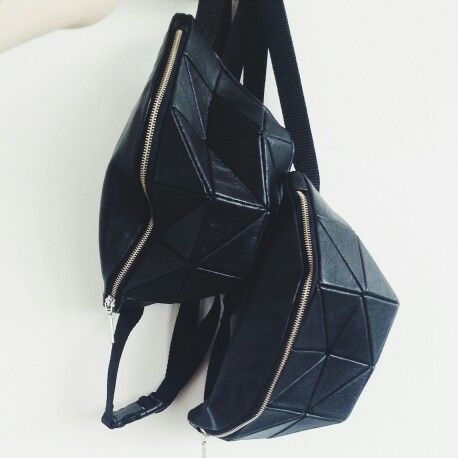 Kosiniec - black leather geometric bumbags