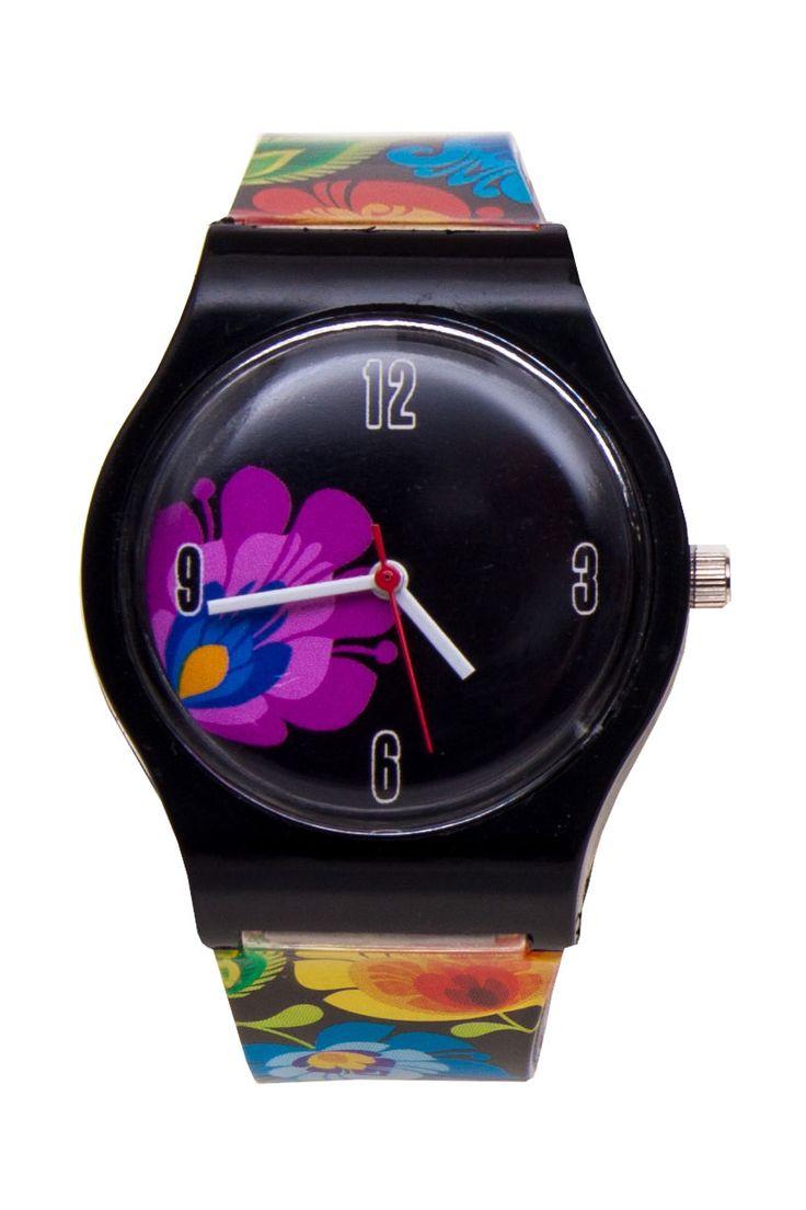 Łowicki zegarek folk na rękę FOLK FLOWERS ludowe wzory łowickie - czarny