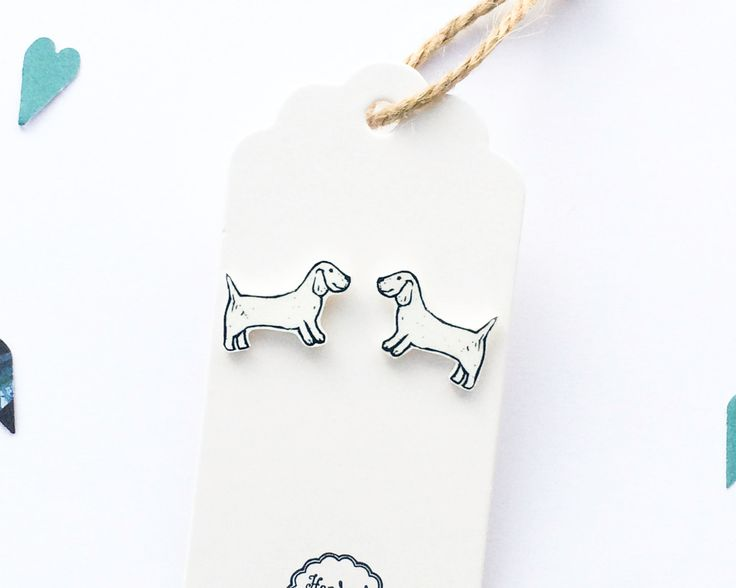 Handmade Illustrated Dachshund Sausage Dog Earrings by LizzieMayDesign on Etsy