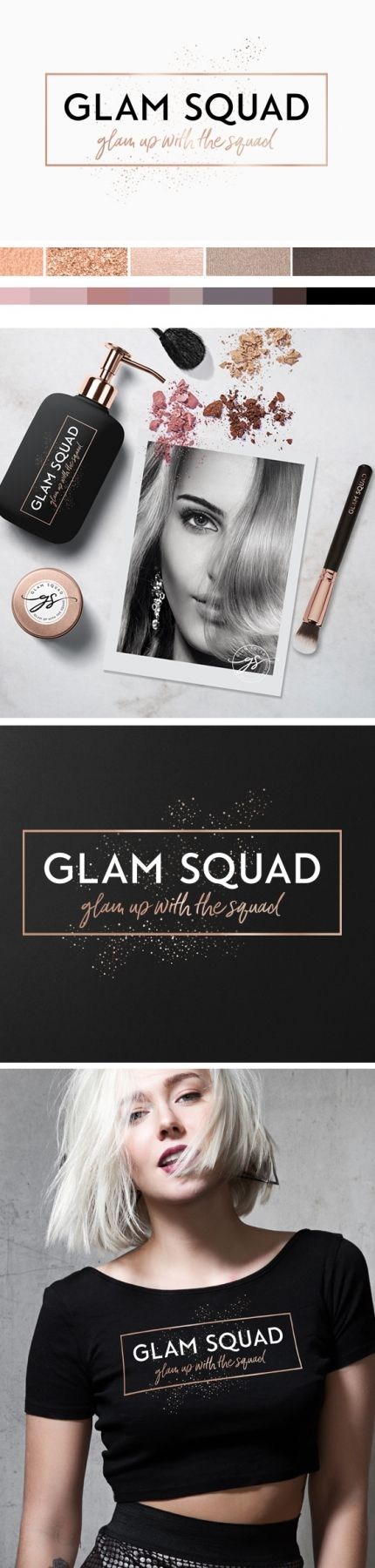 black and gold logo, rose gold logo, branding design, branding, logo, black, glitter, palette, makeup, artist, branding, logo design inspiration, glam logo, modern logo