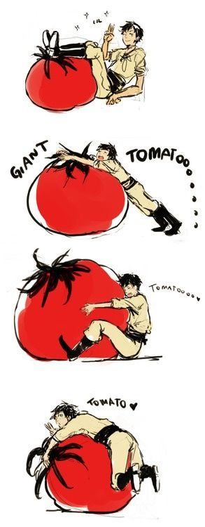 Awh! Spain looks so happy with his giant tomato :D How adorable