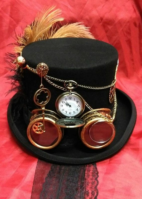Steampunk Festival Victorian 100% Wool Top Hat Alice Through