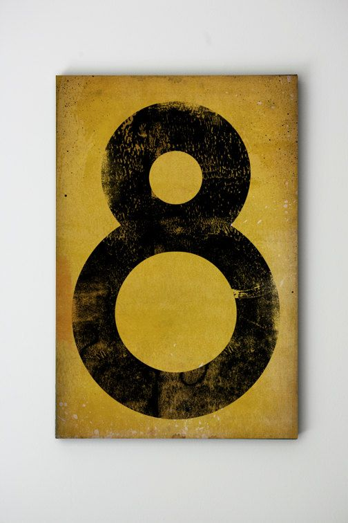 Number No. 8 - Vintage-Style Gas Station Number / Graphic Art / Gallery Wrapped Canvas 18x24x1.5 wall art