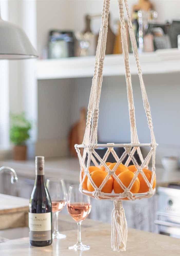 Cesto de frutas de macramê: Para cozinha moderna …