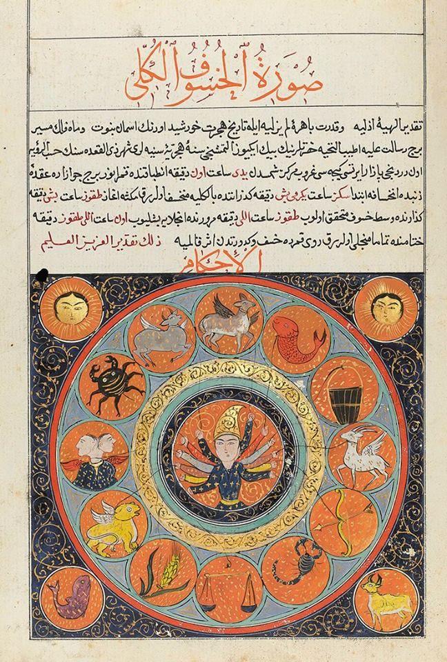 An Ottoman Calendar made for Sultan Abdulmecid I, drafted by Mehmet Sadullah, Turkey, dated 1260 AH/1844 AD. Total Lunar Eclipse