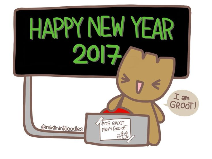 Happy New Year 2017! I hope you are all as happy as Baby Groot when he finally gets to push the red button ❤️ #BabyGroot #GotG #mintmintdoodles