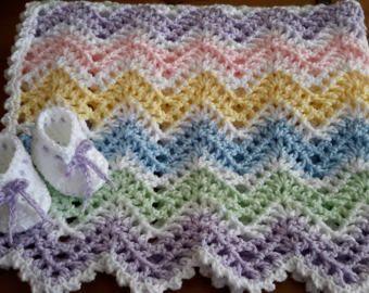 Pastel arco iris, niña, chevron, ondulación, bebé, manta de ganchillo, ganchillo afgano, manta ganchillo, ganchillo afgano, colores de primavera