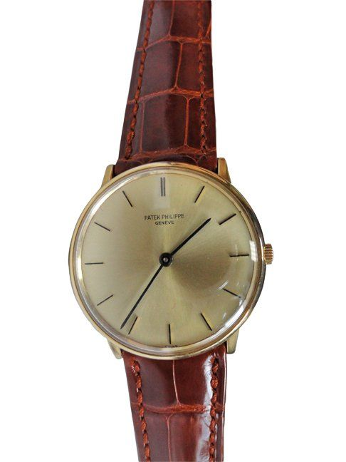 Vintage gent`s Patek Philippe wristwatch, ref #3536. Champagne dial with yellow gold bar hour markers.   http://www.liveauctioneers.com/item/25627346_vintage-mens-patek-philippe-watch-ref-3536