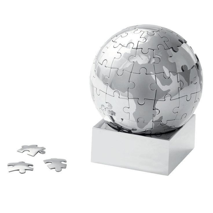 Magnetic silver metal jigsaw puzzle in the shape of the world globe on a shiny silver stand. Supplied in silver box.