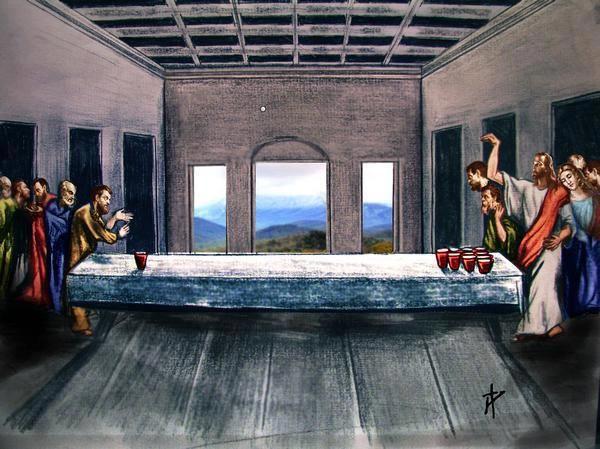 Jesus rocks at beer pong.