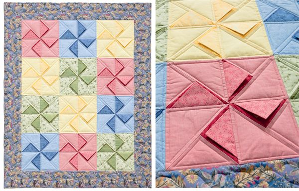 Folded corners (and other painless piecing tricks) - The peekaboo technique looks really fun