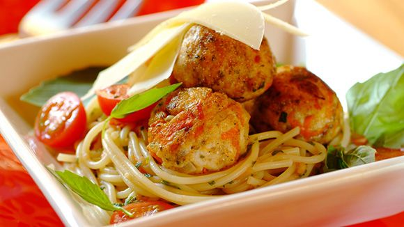 Herbed Chicken Meatballs on Spaghetti