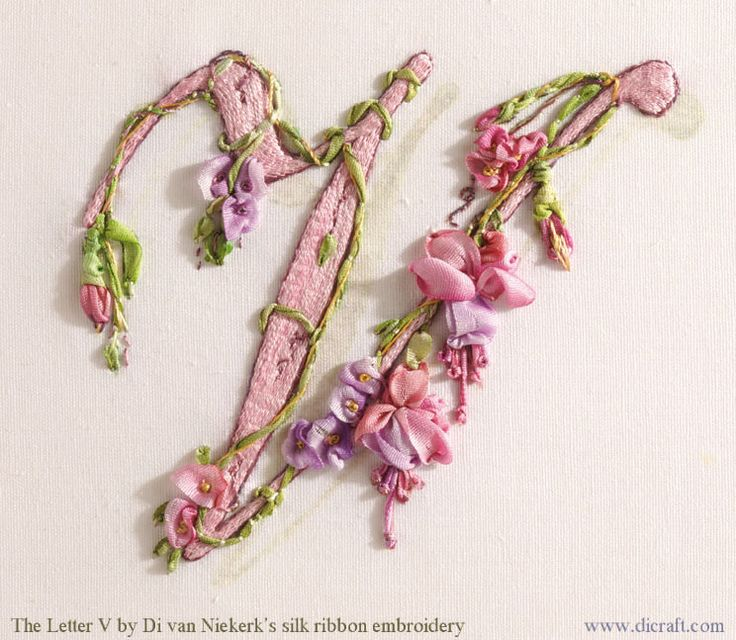 How to fill in a monogram or initial in raised stem-stitch | Di van Niekerk