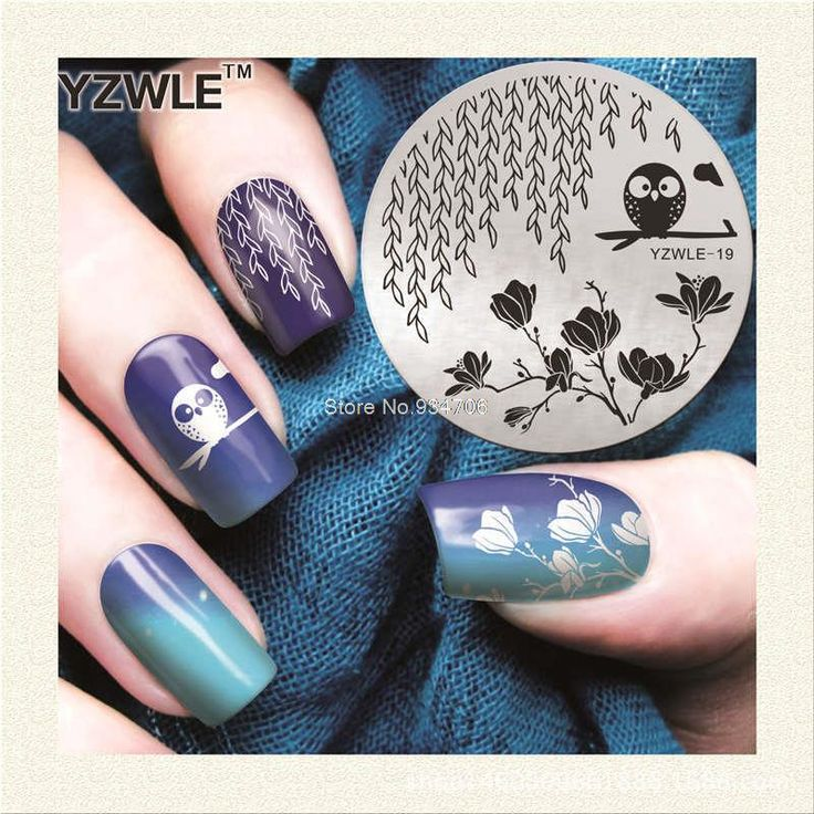 YZWLE-19 Vintage Owl pattern Stamping Nail Art Image Plate 5.6cm Stainless Steel Template Polish Manicure Stencil Tools