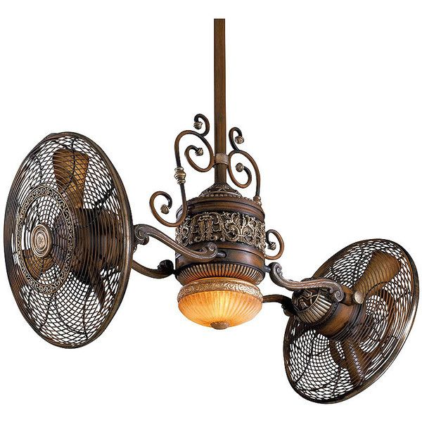 Traditional Gyro Twin Ceiling Fan In Belcaro Walnut Finish (5,330 CNY) ❤ liked on Polyvore featuring home, home decor, fans and traditional home decor