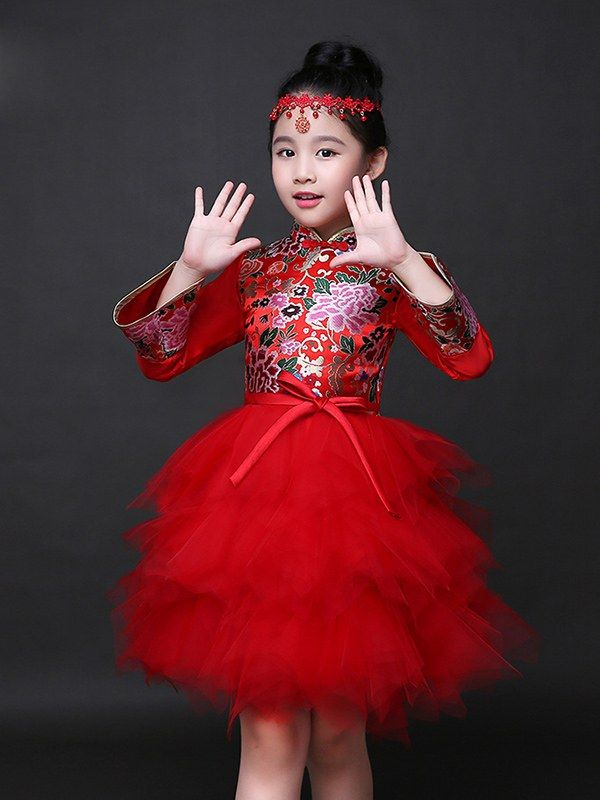 8886de143 Fabulous Floral Pattern Chinese Kid Dress