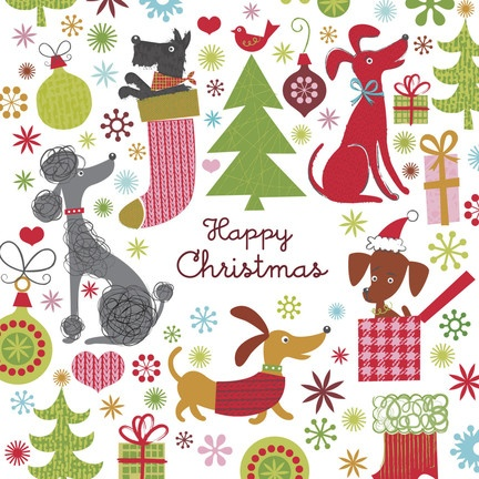 """Christmas Dogs - Rob+Bob Studio - Christmas Card. A variety of festive Christmas dogs pepper this holiday card, making it the perfect Christmas card for all the dog-lovers in your life! Just add a personal happy holiday message and send along. 4.75"""" x 4.75"""" Folded Card. Price: $2.89"""