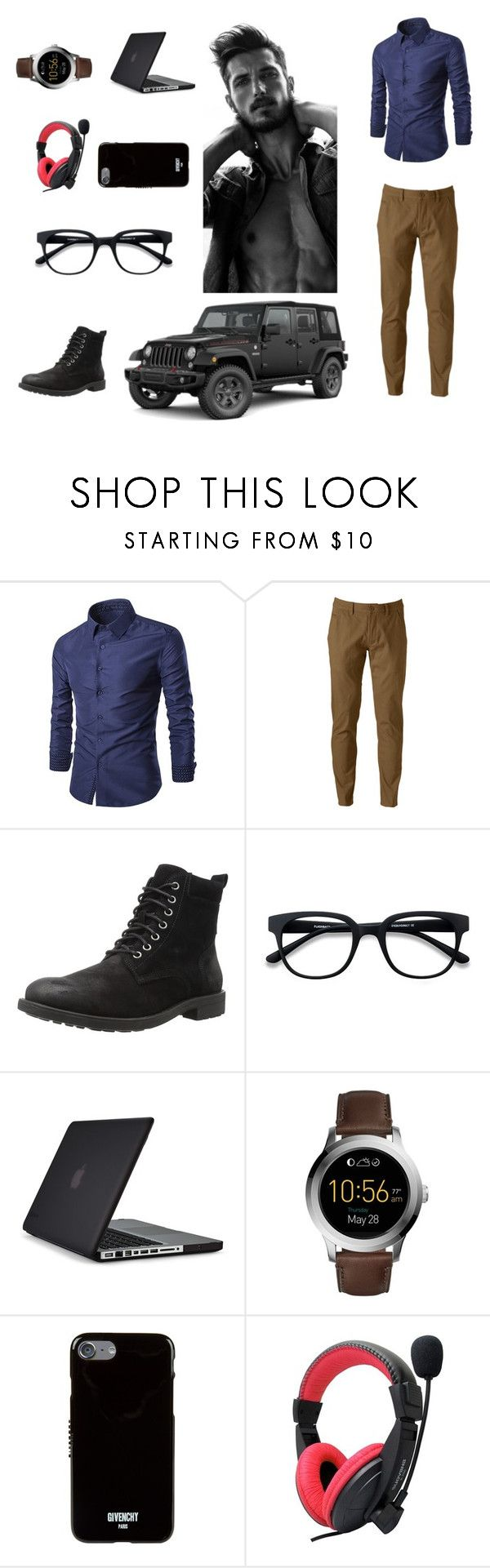 """Hacker, works for FBI"" by mtorres-i ❤ liked on Polyvore featuring Hollywood the Jean People, EyeBuyDirect.com, Speck, FOSSIL, Givenchy, Wrangler, men's fashion and menswear"