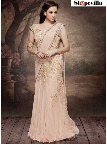 Light Peach Colour Wedding Wear Embroidered Lehenga Saree In Net & Lycra Fabric-4009