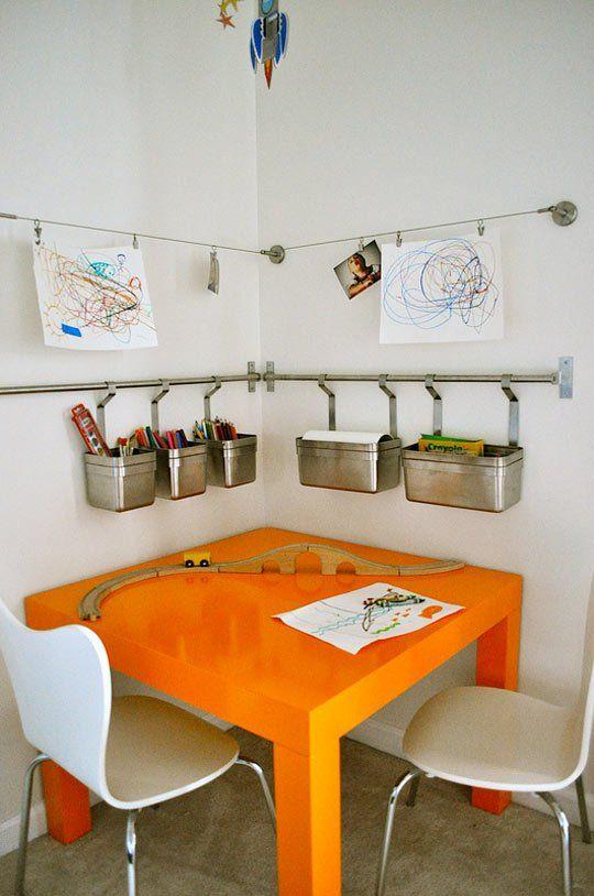 Kids Room Reading Corner Table Chairs Artwork