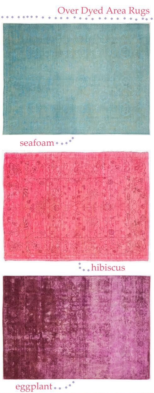 Over Dye Area Rubs: vintage rugs re-dyed in bright new colors