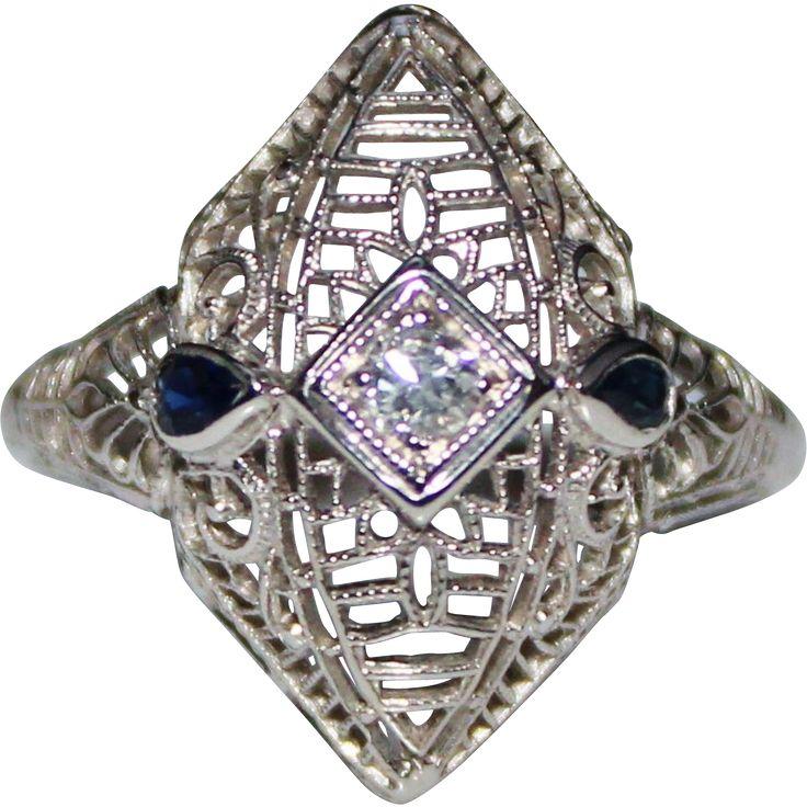 Art Deco 14k White Gold Filigree Diamond & Sapphire Ring, Size 5, $250.00