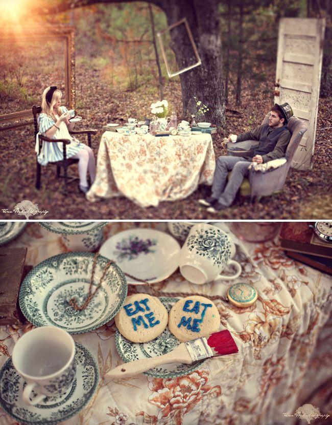 Alice in Wonderland inspired engagement photos