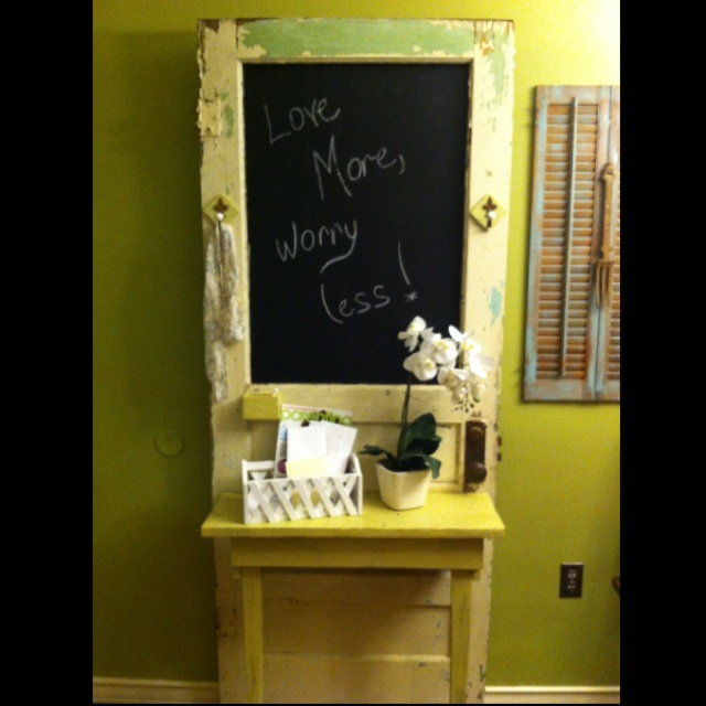 Chalkboard Hall Tree we made from an old door!