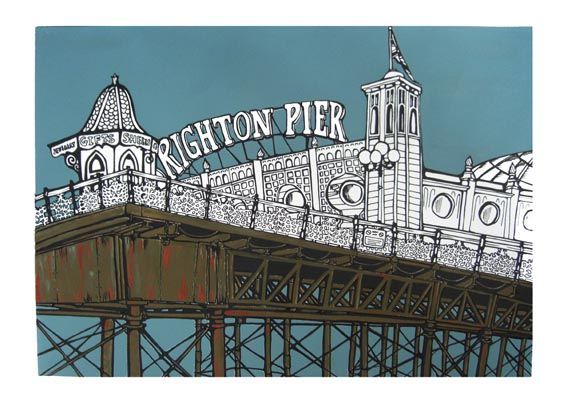 Jo Peel -  illustration of Brighton Pier (the owners changed the sign from Palace Pier in 2000, an informal name change not recognised by the National Piers Society or many Brightonians). The full name of the pier is 'Brighton Marine and Palace Pier'