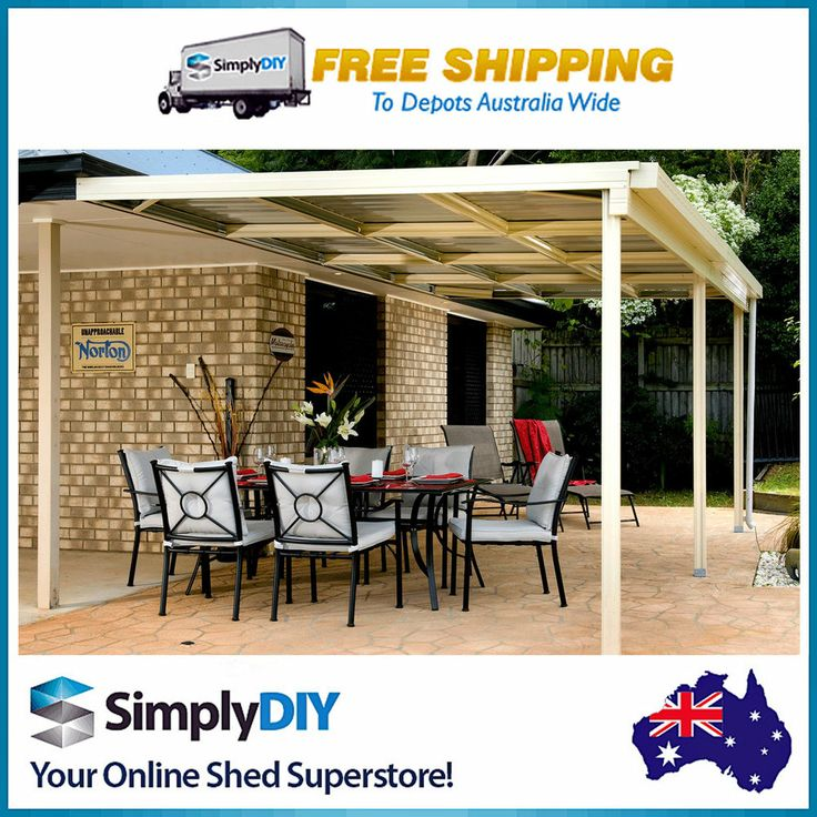 ABSCO PATIO VERANDAH AWNING COVER COLORBOND SHED - 6M X 3M X 3M - CLASSIC CREAM