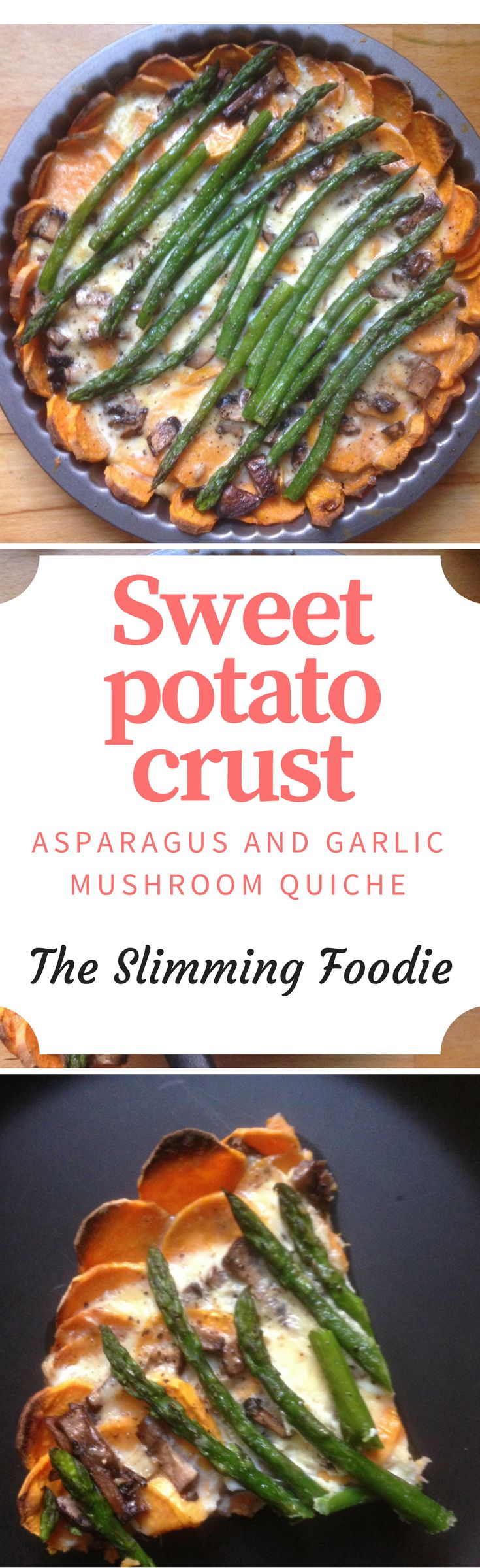 A delicious quiche recipe. The sweet potato crust creates a healthy and tasty crust which is the perfect alternative to pastry, the garlic mushrooms and asparagus a delicious filling. So healthy but such a treat!