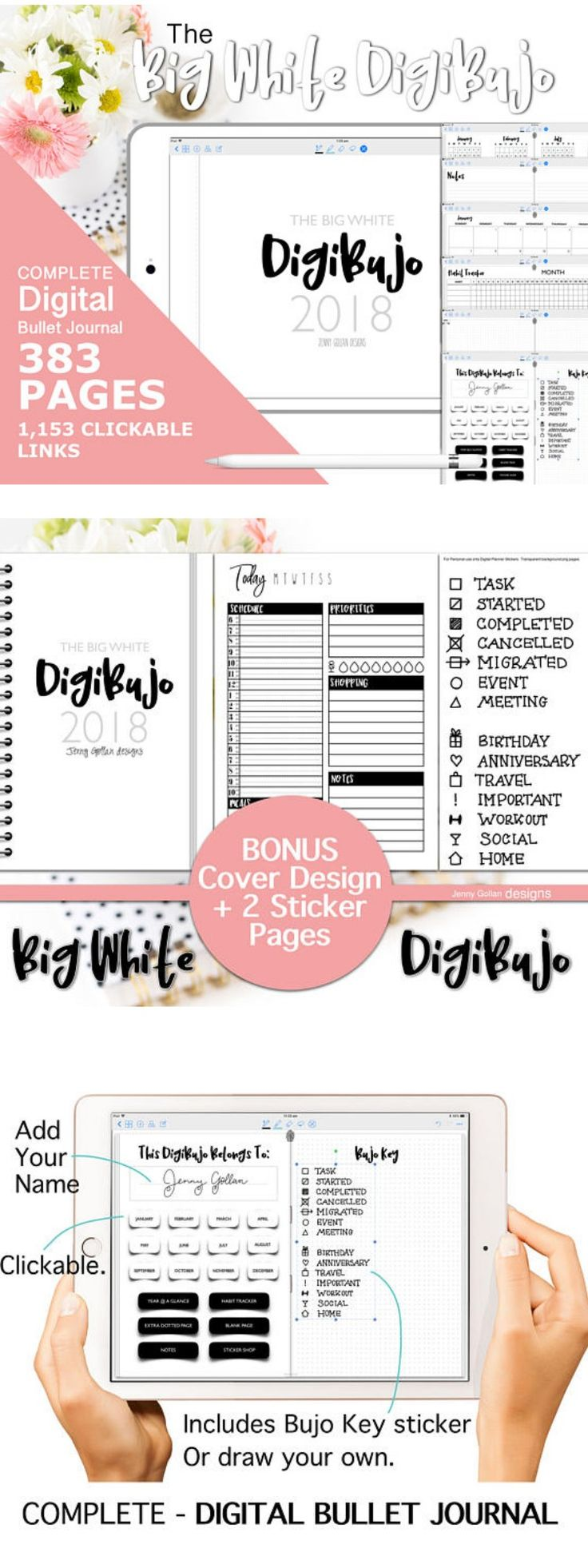 This Digital bullet journal is your very own digital planner system for iOS and Android eg the GoodNotes app on an iPad and Xodo for Android users. Includes 383 pages covering every single day of the year with 1,153 clickable hyperlinks that take guide you through all of the different sections and days of the year. 2018 Year Complete Digital Bullet Journal for GoodNotes with Hyperlinks The Big White DigiBujo Digital Planner #bulletjournals #ad #digitalbujo #planner #etsy…