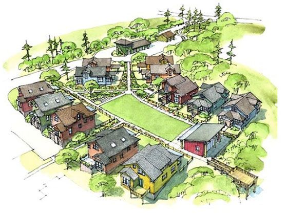 "I love this idea.  A ""pocket neighborhood"" with a bunch of small homes.  Live little in a little community."
