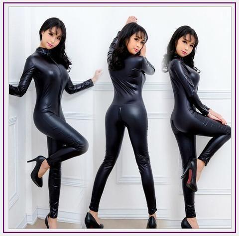 d91538321ddd 2017 Hot Sexy Black Catwomen Jumpsuit Catsuit Costumes Lady Clubwear Body  Suits Faux Leather Zipper Women Suit
