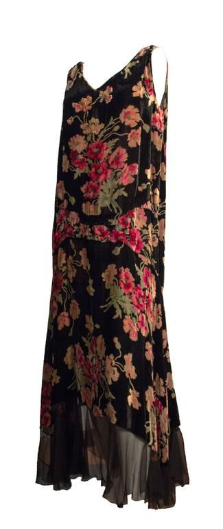 20s Velvet Floral Printed Drop Waist Dress