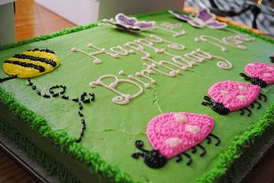 """girly """"bug"""" birthday cake_3 different designs on this blog"""