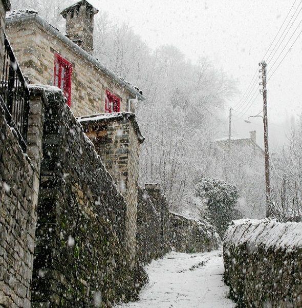 Dilofo mountainous village (Zagorochoria) in Epirus, Greece