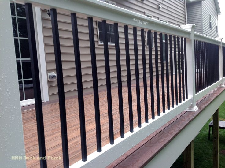 Porch Vs Deck Which Is The More Befitting For Your Home: Longevity White PVC Railing With Black Square Aluminum