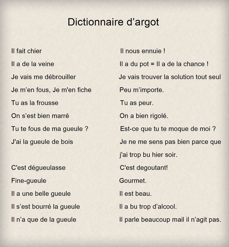 french slang Fundamental » all languages » french » terms by usage » slang french nonstandard terms that are typically used to mark membership in a cultural subgroup.