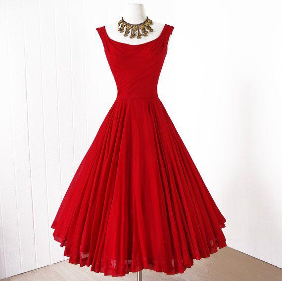 vintage 1950s dress ...designer ANN KAUFFMAN full skirt by traven7