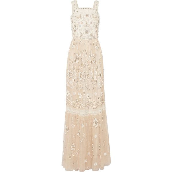 Needle & Thread - Lace-trimmed Embellished Tulle Gown ($396) ❤ liked on Polyvore featuring dresses, gowns, gown, beige, sequined dresses, pink sequin dresses, pink sequin gown, pink tulle dress and pink evening dress