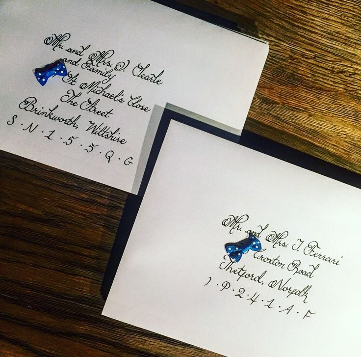 Calligraphy written names and addresses on wedding